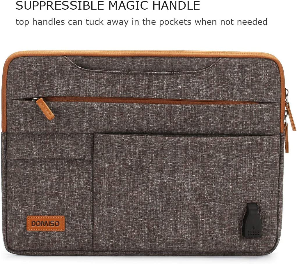 Dell XPS 15 DOMISO 15.6 Inch Multi-Functional Laptop Sleeve Business Briefcase Messenger Bag with USB Charging Port for 15.6 Laptop//Apple//Lenovo IdeaPad//Acer Aspire//HP Envy 15 Dark Grey