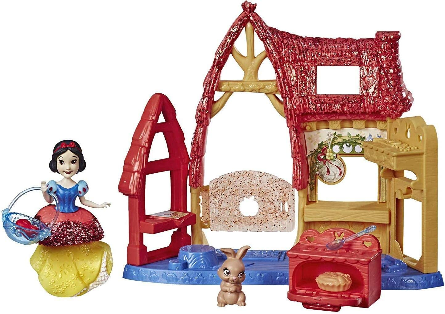 Disney Princess Cottage Kitchen & Snow White Doll, Royal Clips Fashion, One-Clip Skirt