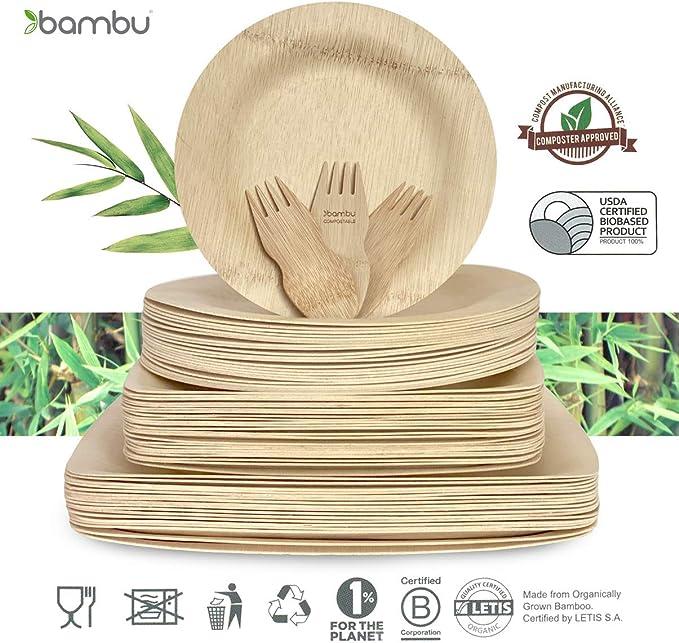 Amazon Com Bambu 9 Inch Square Veneerware Bamboo Plates 25 Pack Kitchen Dining