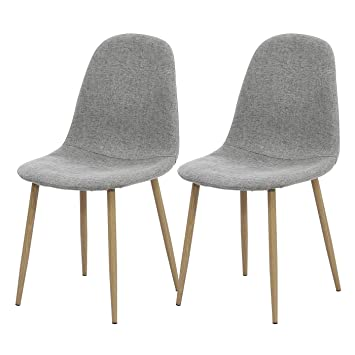 Marvelous Tonvision 2X Ash Grey Linen Fabric Dining Chairs Small Ocoug Best Dining Table And Chair Ideas Images Ocougorg