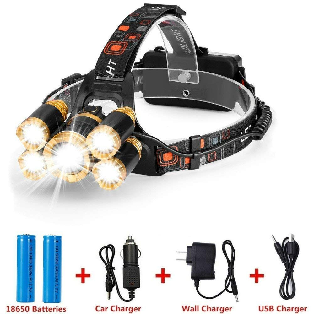 Super Bright Waterproof LED 5000 Lumens Headlamp Head Flashlight 5 Light Modes with 2 18650 Rechargeable Batteries, USB Cable, Wall Charger and Car Charger for Outdoor Sports