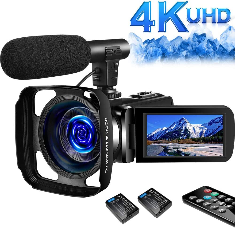 Amazon Com Sauleoo 4k Video Camera Camcorder Digital Youtube Vlogging Camera Recorder Uhd 30mp 3 Inch Touch Screen 18x Camcorder With Microphone 2 Batteries Electronics