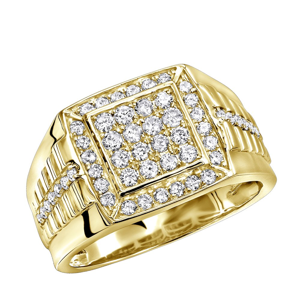 Mens Pinky Rings Diamond Band 10k Gold Square Shape 1ctw (Yellow Gold, Size 8.5)