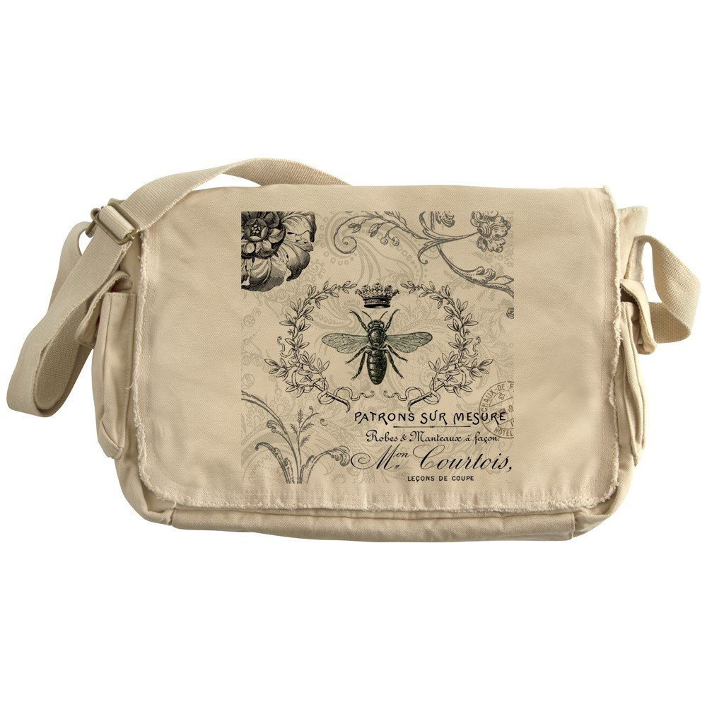 CafePress - Vintage French Shabby Chic Queen Bee Collage Messe - Unique Messenger Bag, Canvas Courier Bag