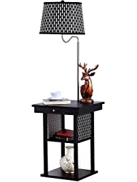 Brightech Madison LED Floor Lamp Swing Arm W Shade Built In End Table