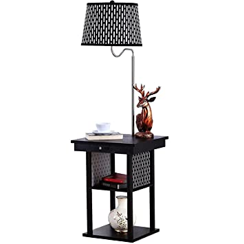 led floor lamp swing arm shade built in end table with attached australia magazine rack contemporary