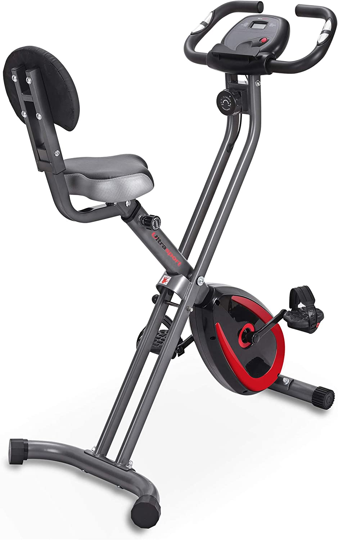 Ultrasport F-Bike 300B Bicicleta estática Plegable, Ordenador y App, F-Bike 300B con Respaldo & APP, Unisex, Gris Oscuro / Negro