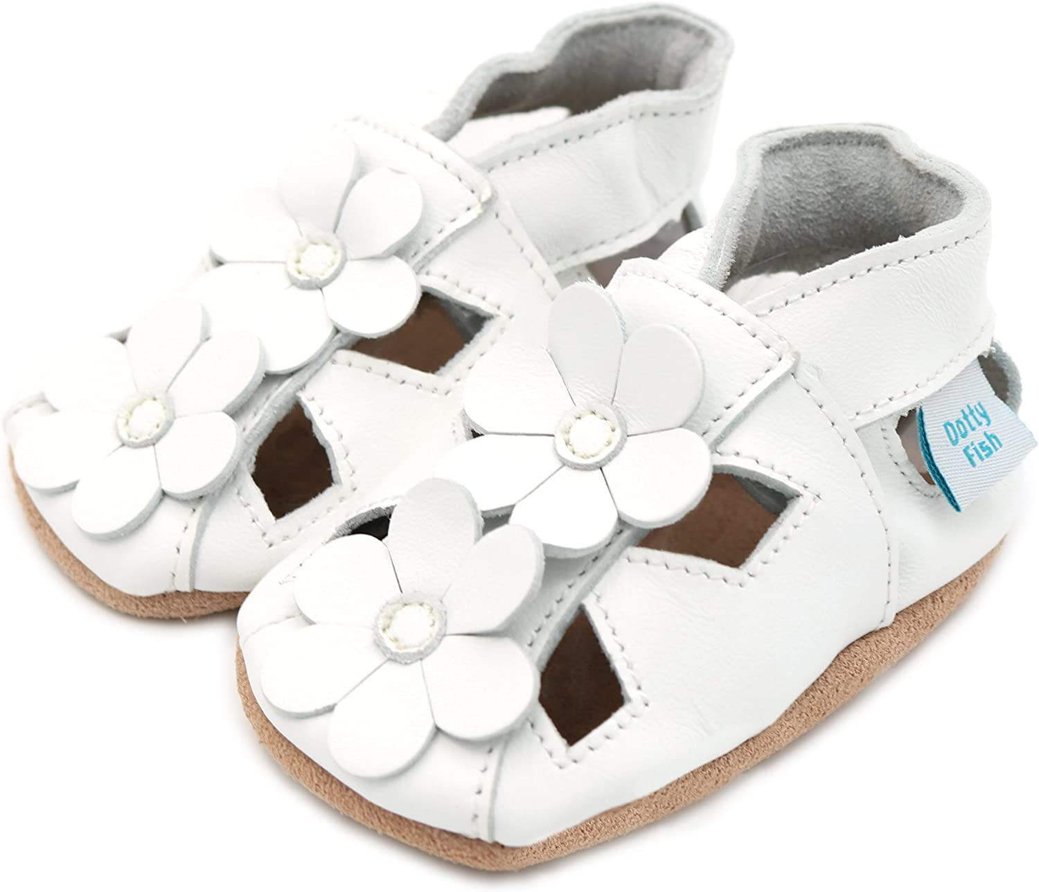 Dotty Fish Soft Leather Baby Shoes with Suede Soles 0-6 Months to 2-3 Years Non-Slip Toddler Flower Sandals