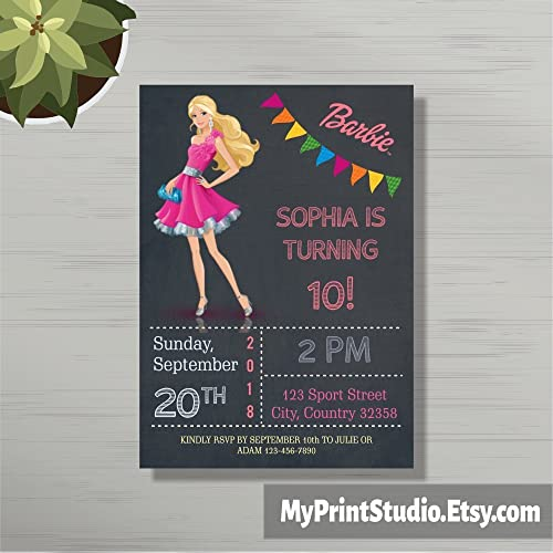 Personalized Barbie Birthday Party Invitations