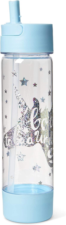Tri-Coastal Design - Botella de Agua de Plástico - Divertida y Colorida, con Tapa y Gancho Dorado