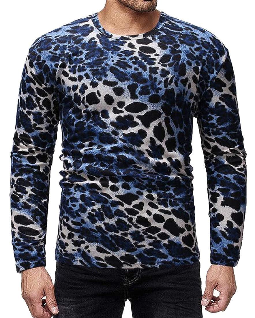 Mstyle Mens Fall /& Winter Slim Leopard Print Long Sleeve Crew Neck T-Shirt Tee