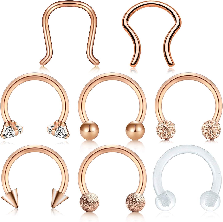 Jforyou 8 Pcs Septum Rings Nose Rings 16g Stainless Steel Septum