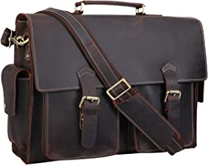 "Polare 17"" Mens Full Grain Leather Laptop Briefcase Business Messenger Bag Satchel With YKK Metal Zippers"