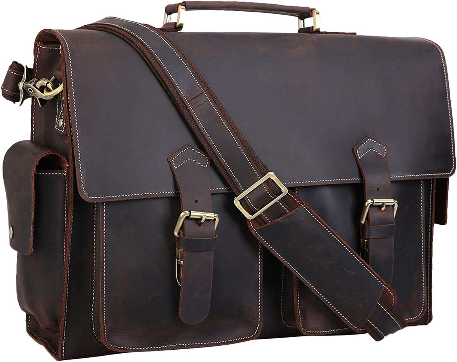 Polare 17 Mens Full Grain Leather Laptop Briefcase Business Messenger Bag Satchel With YKK Metal Zippers