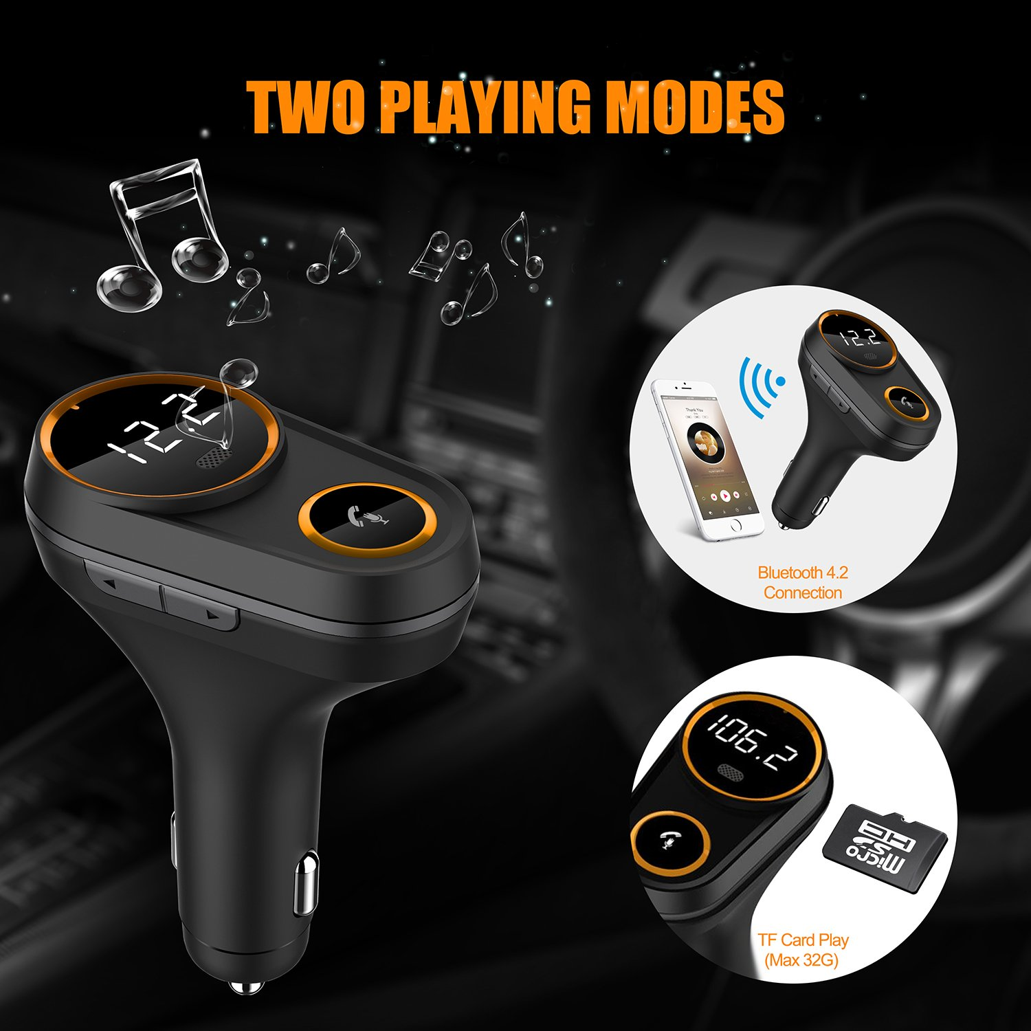 Bluetooth FM Transmitter for Car, Yurchuke 2018 Stylish Design Wireless Bluetooth FM Radio Adapter Car Kit with Hands-Free Calling, 5V/4.8A Concealled Dual USB Charging Ports for iPhone iPod iPad ect by Yurchuke (Image #5)
