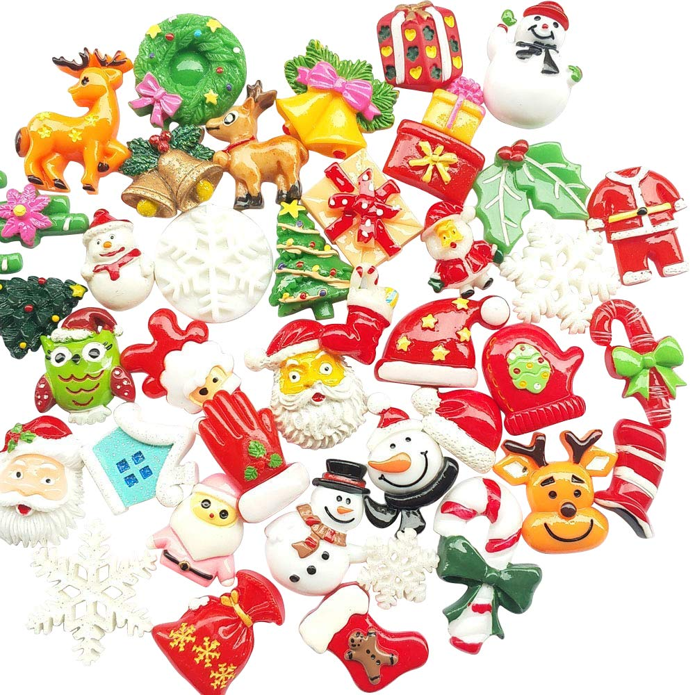 Chenkou Craft Ramdom 50pcs Mix Lots Resin Flatback Flat Back Christmas Craft Embellishment Snowman Snowflake Santa Claus Tree Beer Sock Gleeves Jinglebell