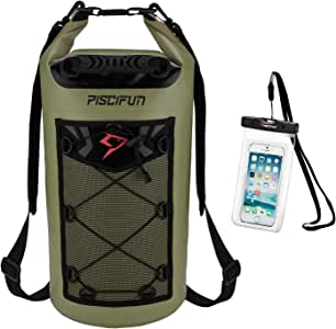 Piscifun Waterproof Dry Bag Backpack 5L 10L 20L 30L 40L Floating Dry Backpack with Waterproof Phone Case for Water Sports - Fishing, Boating, Kayaking, Surfing, Rafting Gifts for Men and Women