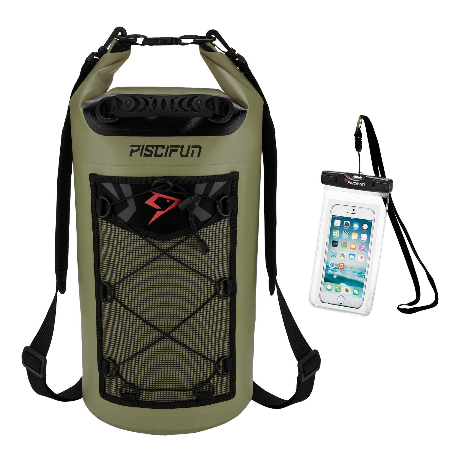 Piscifun Waterproof Dry Bag Backpack Floating Dry Backpack for Water Sports - Fishing Boating Kayaking Surfing Rafting Camping Gifts for Men and Women Free Waterproof Phone Case Army Green 20L
