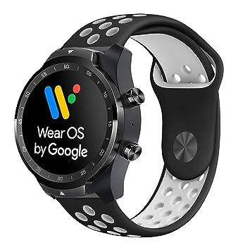 Ceston Deporte Silicona Clásico Correas para Smartwatch TicWatch Pro (Negro + Blanco)