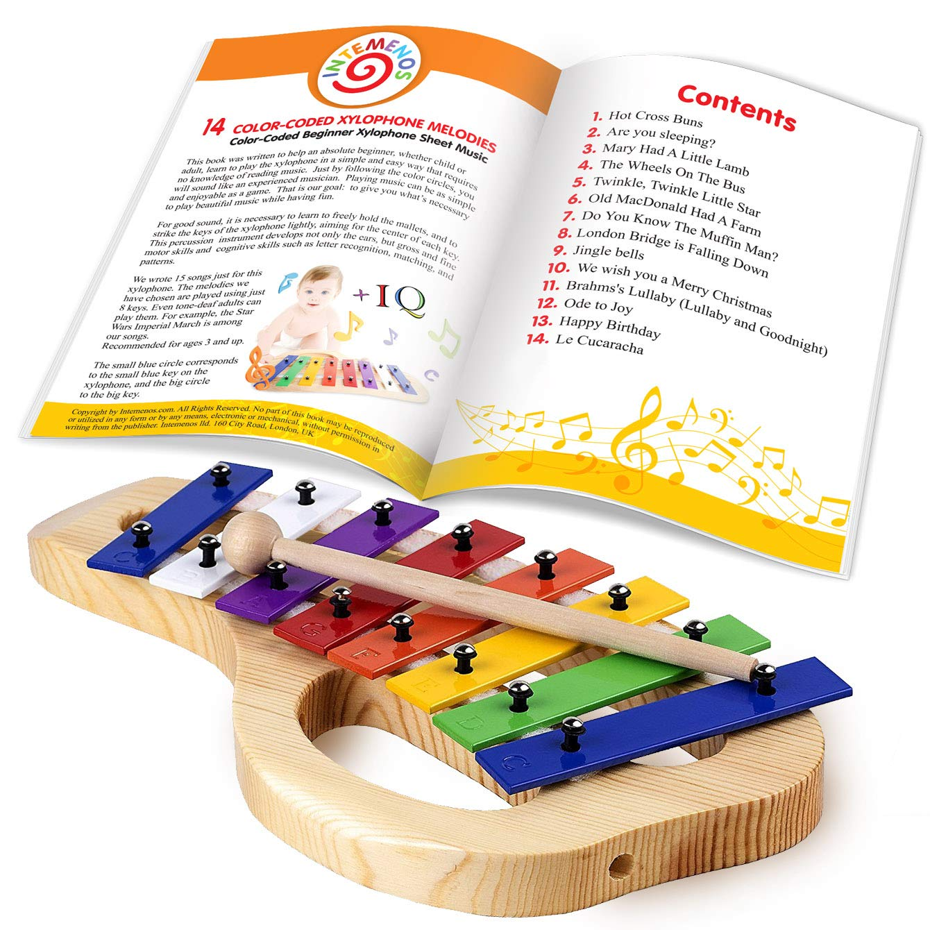 Xylophone for Children - 15 Color-Coded Song Sheet Music E