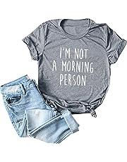 LuluZanm Letter Print T-Shirt for Women Sale💖 Ladies Fashion O-Neck Short Sleeve Blouses Basic Summer Tops Plus S-5XL