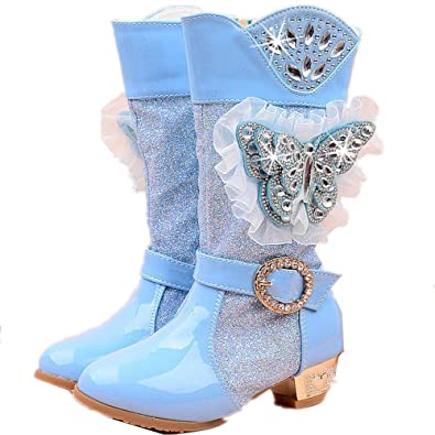 stay real Girls Princess High-Heeled Snow Boots with Butterfly   Plush 1eb91d78f1e7