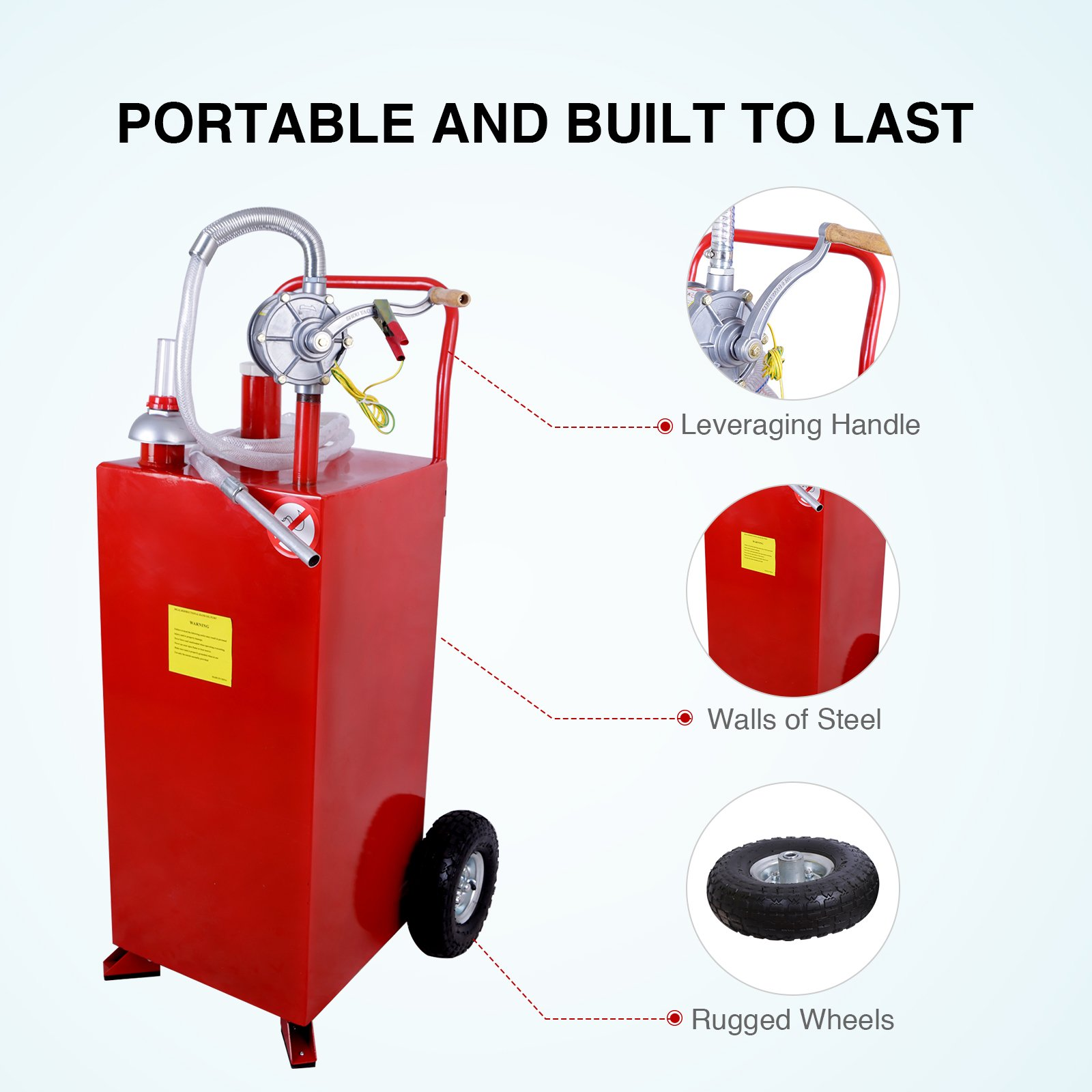 SUNCOO 30 Gallon Portable Gas Tank Diesel Fuel Caddy Storage Containers Pump & Hose Tube, Red by SUNCOO (Image #4)