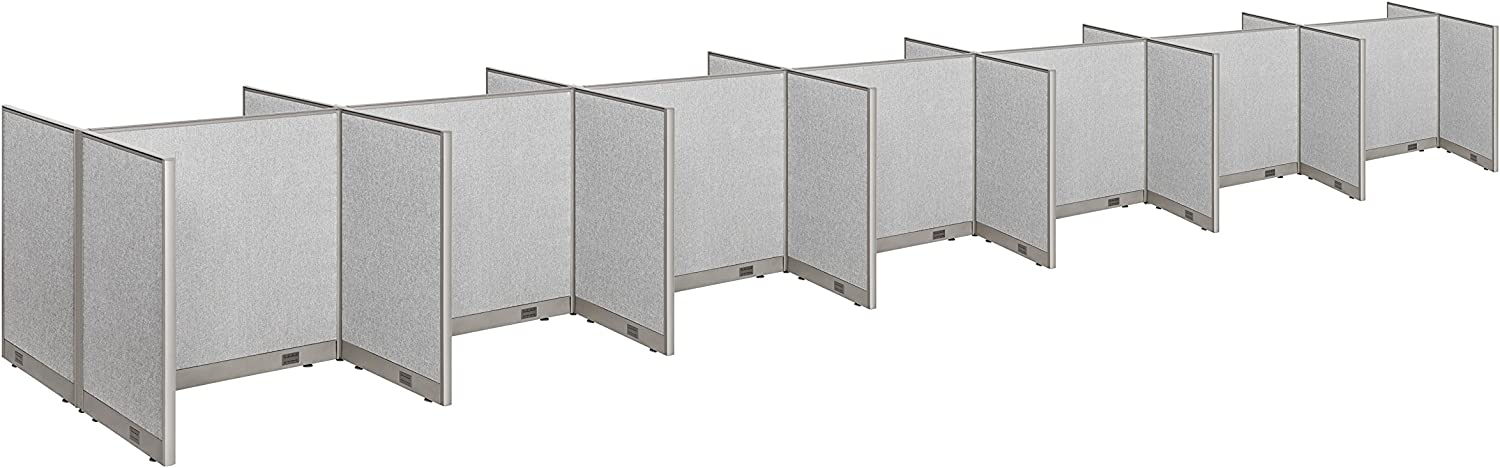 """GOF Cubicle Double 14 Station Office Partition, Large Fabric Room Divider Panel Workstation, 30""""D x 48""""W x 48""""H"""