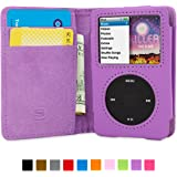 iPod Classic Case, Snugg Purple Leather Flip Case [Card Slots] Executive Apple iPod Classic Wallet Case Cover and Stand [Lifetime Guarantee] - Legacy Series