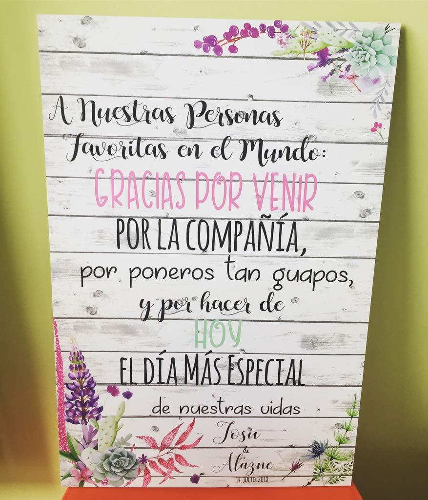 Cartel Bienvenidos a nuestra Boda flores con flores ...