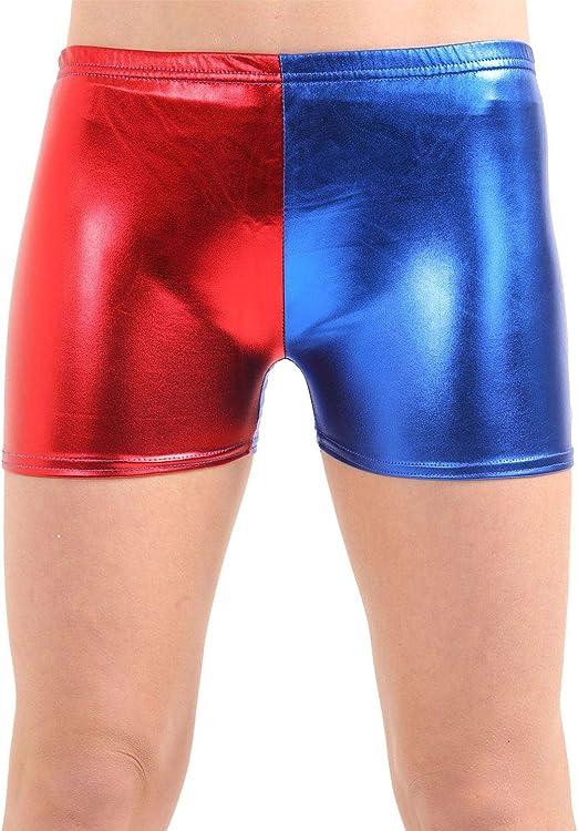 WOMENS LADIES RED BLUE WET LOOK HOT PANTS METALLIC HARLEY QUINN COSTUME SQUAD