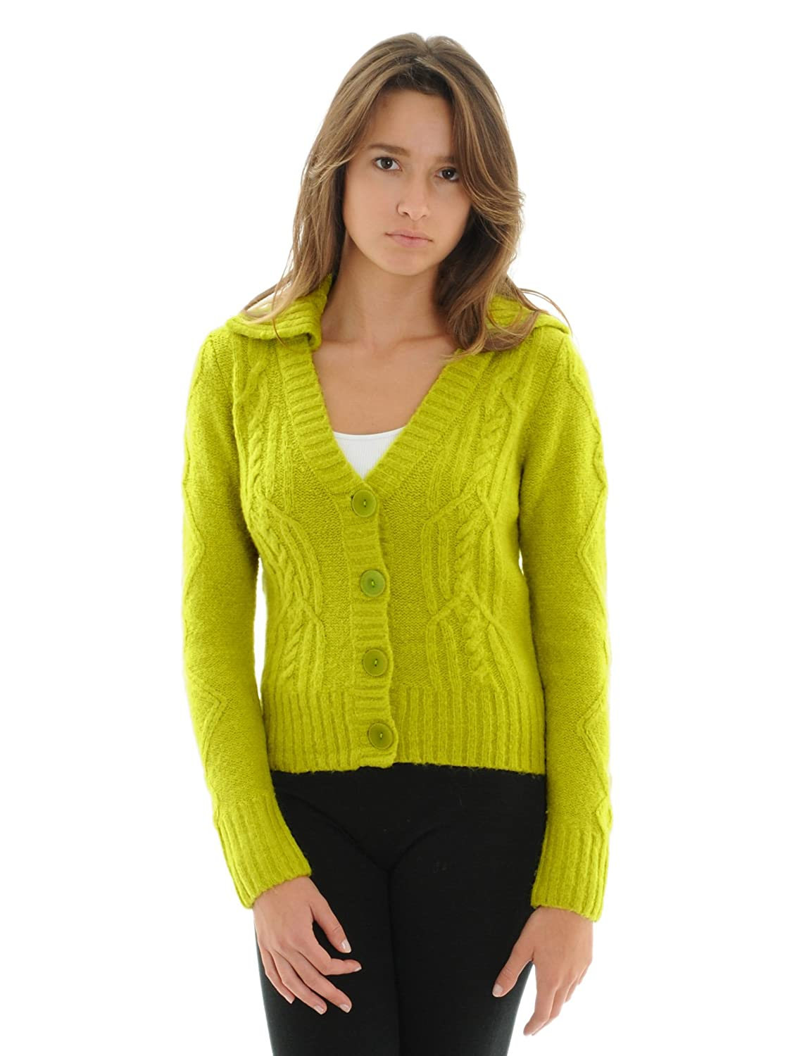 Vice Versa Women's Chartreuse Cable Knit Collar Wool Blend Cardigan Sweater