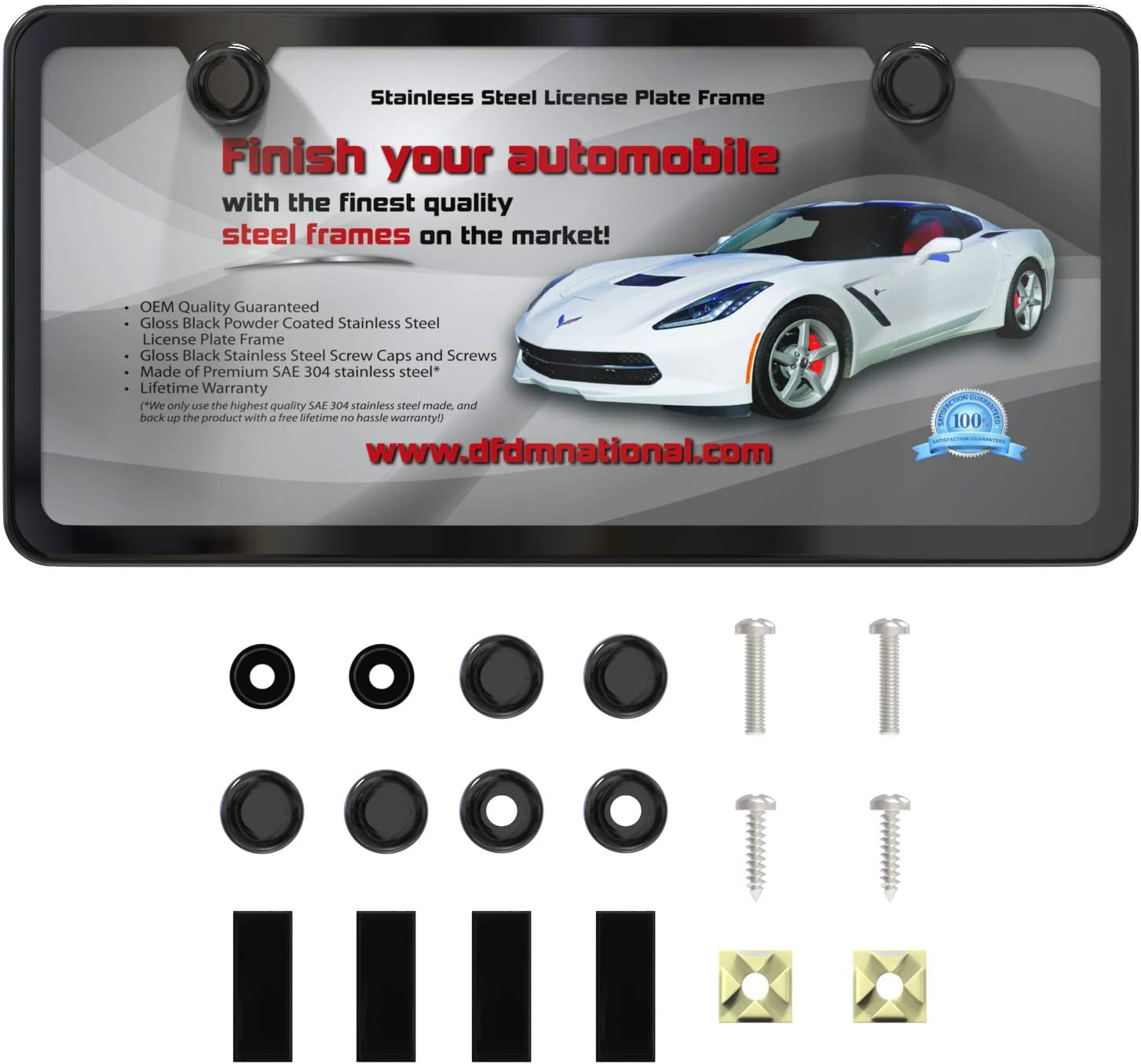 SPORT RACING LICENSE PLATE FRAME LOCKING FASTENERS SCREWS  BOLTS FOR IMPORT CARS
