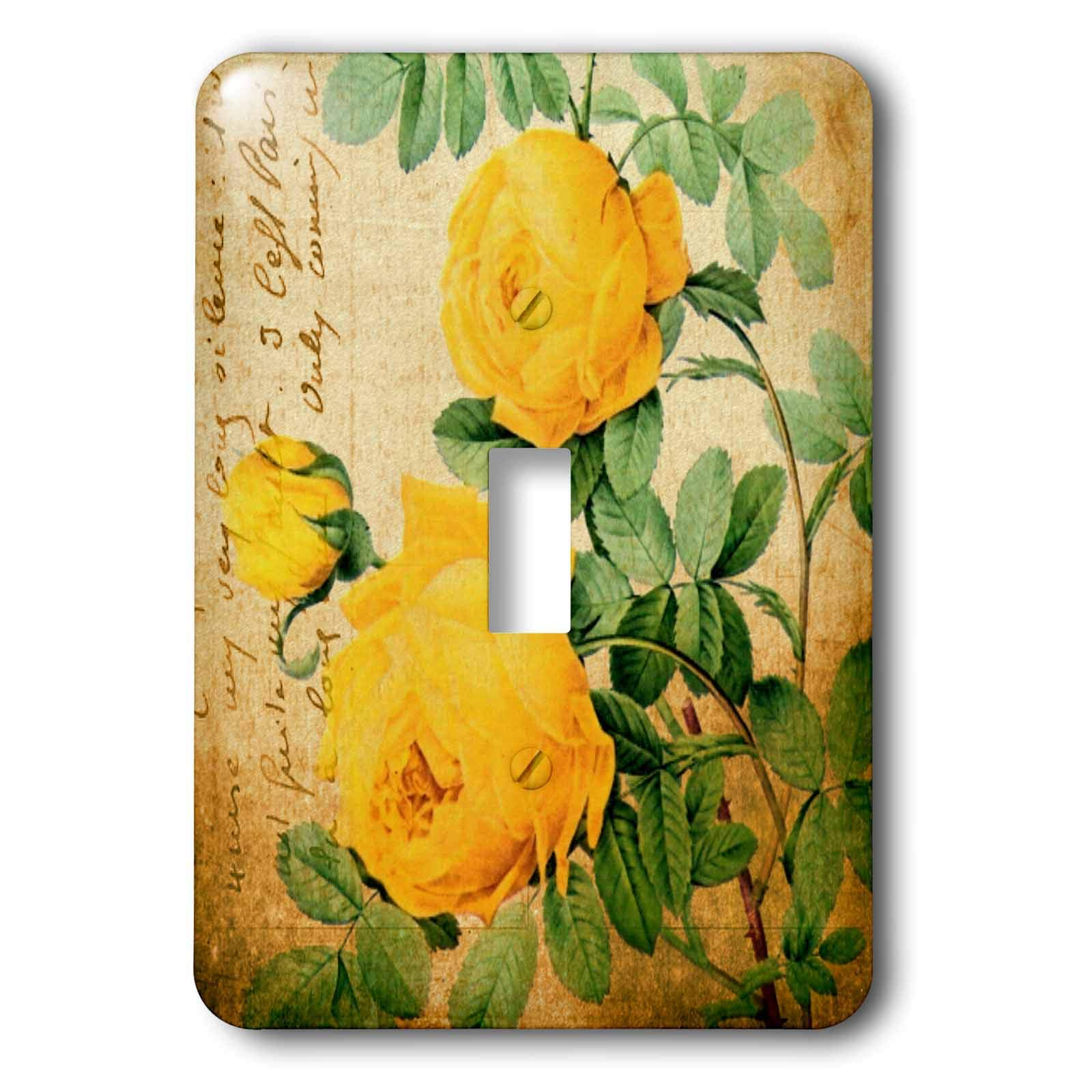 3dRose Cassie Peters Florals - Vintage Yellow Roses - Light Switch Covers - single toggle switch (lsp_291761_1)