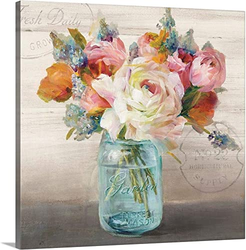 French Cottage Bouquet II Canvas Wall Art Print
