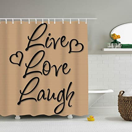 Image Unavailable Not Available For Color Dreamting Live Love Laugh Vinyl Words Waterproof Mildew Resistant Fabric Polyester Shower Curtain