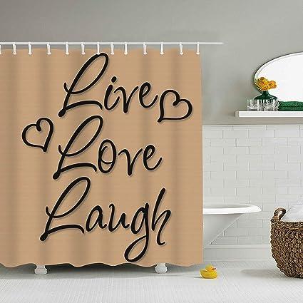 Dreamting Live Love Laugh Vinyl Words Waterproof Mildew Resistant Fabric Polyester Shower Curtain 79 X 72