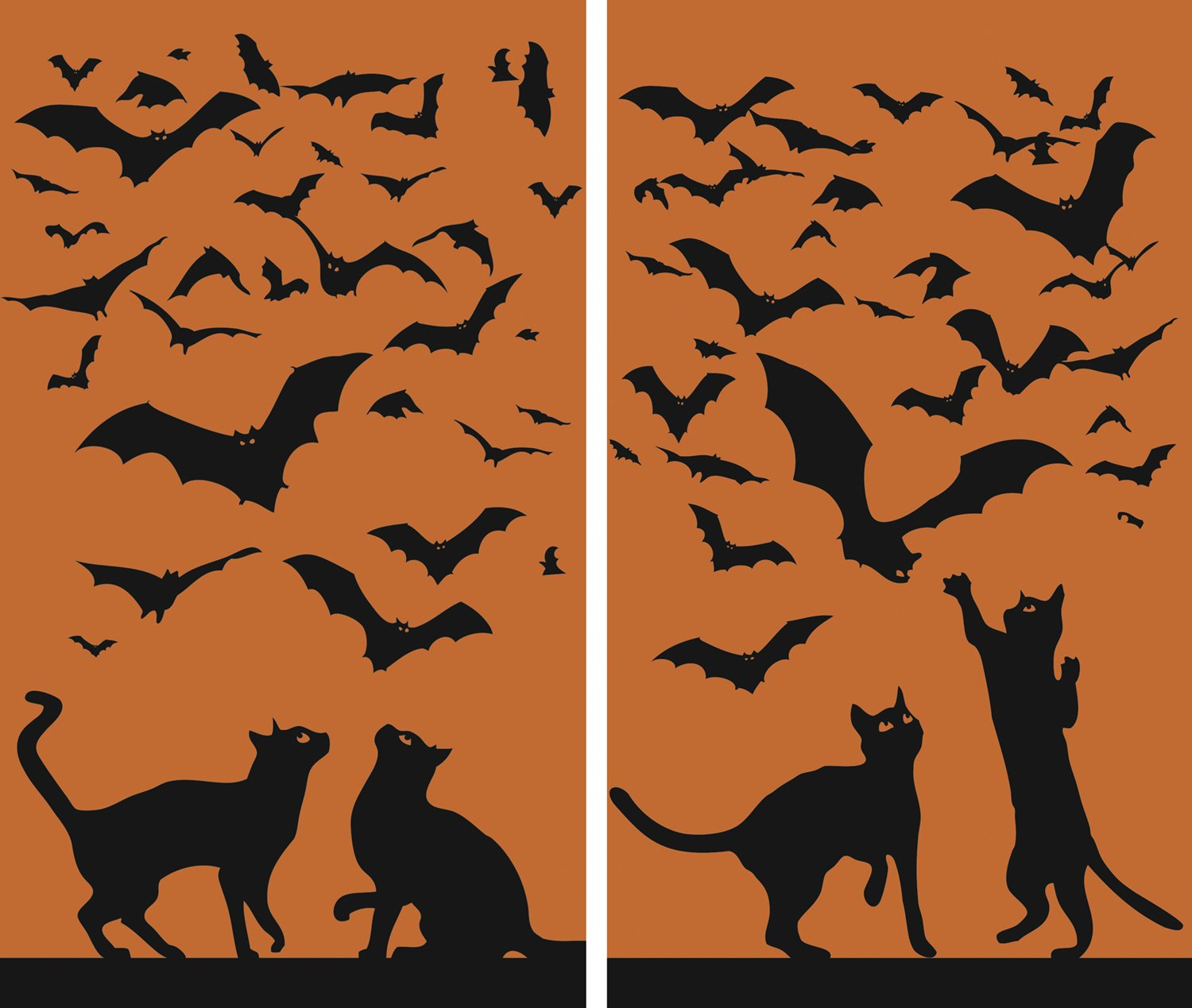 WOWindow Posters Cats & Bats Silhouettes Orange and Black Halloween Window Decoration includes two 34.5''x60'' Backlit Posters
