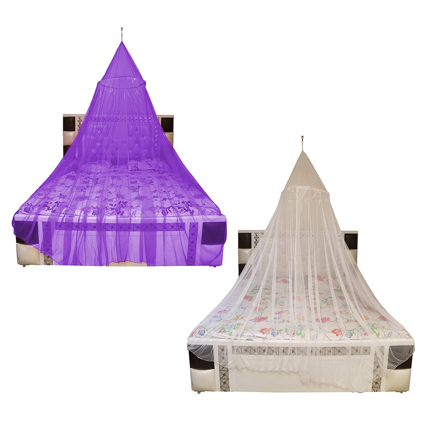 Creative Textiles Multi Color Polyester Hanging Mosquito Net for Adults Double/Queen Size Bed Canopy Style- Combo