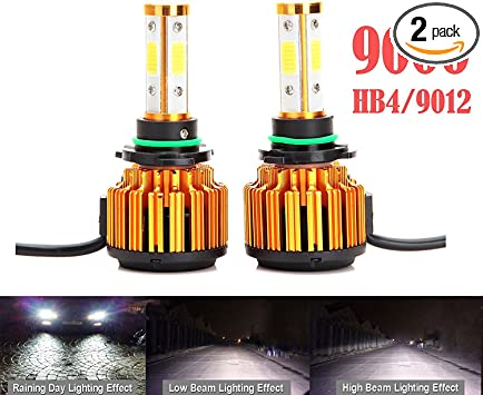 2x Super Bright 4-Sides 9006 HB4 COB LED Headlight Kit Bulbs High Low Beam 6000K