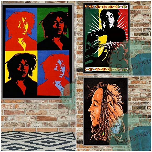 colors of rajasthan Set of 3 Bob Marley Tapestry Psychedelic Hippie Reggae Music Indian Decor Wall Hanging Decor Cotton Poster Yoga Mat Tapestry