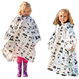 Kids Rain Poncho with Hood (2 Pack)- Thicker Waterproof Reusable Ponchos for Emergency Survival Kit Camping Hiking…
