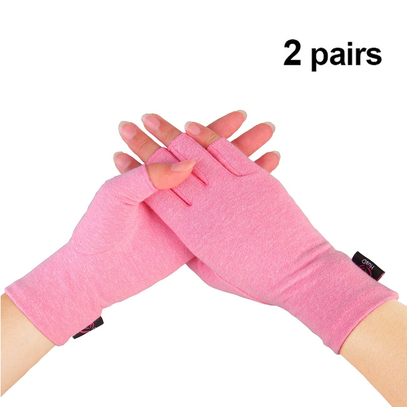 2 Pairs - Compression Arthritis Gloves for Women, Fingerless Design to Relieve Pain from Rheumatoid Arthritis and Osteoarthritis (Pink, Medium)