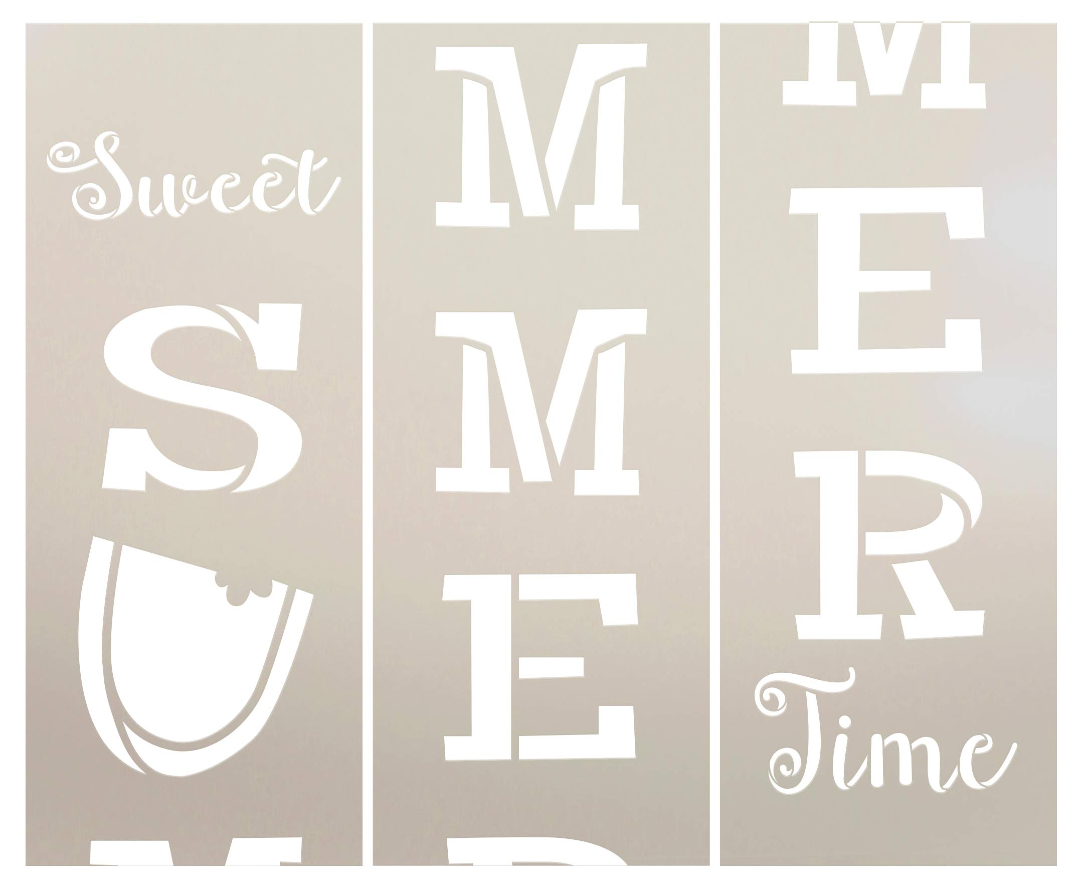 Sweet Summer Time Watermelon Vertical Tall Porch Stencil - for Making 6ft Vertical Porch Sign - 3 Part Stencil by StudioR12 | Reusable Mylar Template | Use to Paint Wood Signs - Pallets - DIY Spring