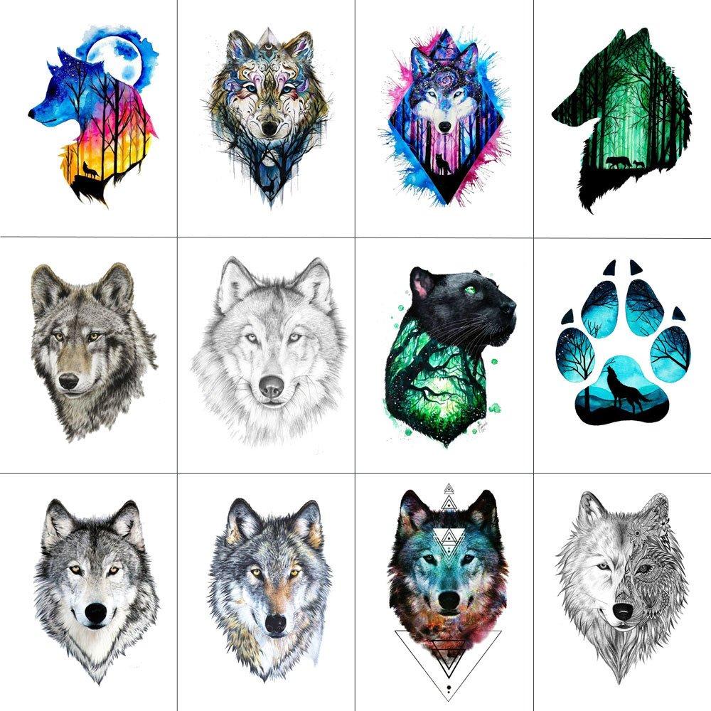 WYUEN 12 piezas/lote Wolf temporales tatuaje adhesivo para mujeres hombres moda Body Art Adultos Impermeable Mano Fake Tatoo 9.8 x 6 cm W12-01