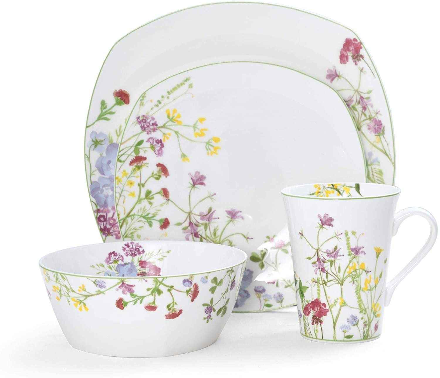 Mikasa Wildflower Garden 16-Piece Dinnerware Set, Assorted