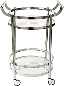 Design Guild Rolling 2 Tier Round Serving Cart w Wheels- Wine Rack & Liquor Barware Storage For Kitchen, Dining Room, Home Bar, Or Buffet, Glass & Metal, Silver