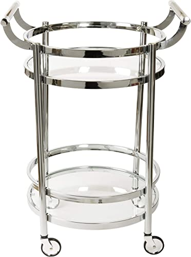 Design Guild Rolling 2 Tier Round Serving Cart w Wheels- Wine Rack Liquor Barware Storage For Kitchen, Dining Room, Home Bar, Or Buffet, Glass Metal, Silver