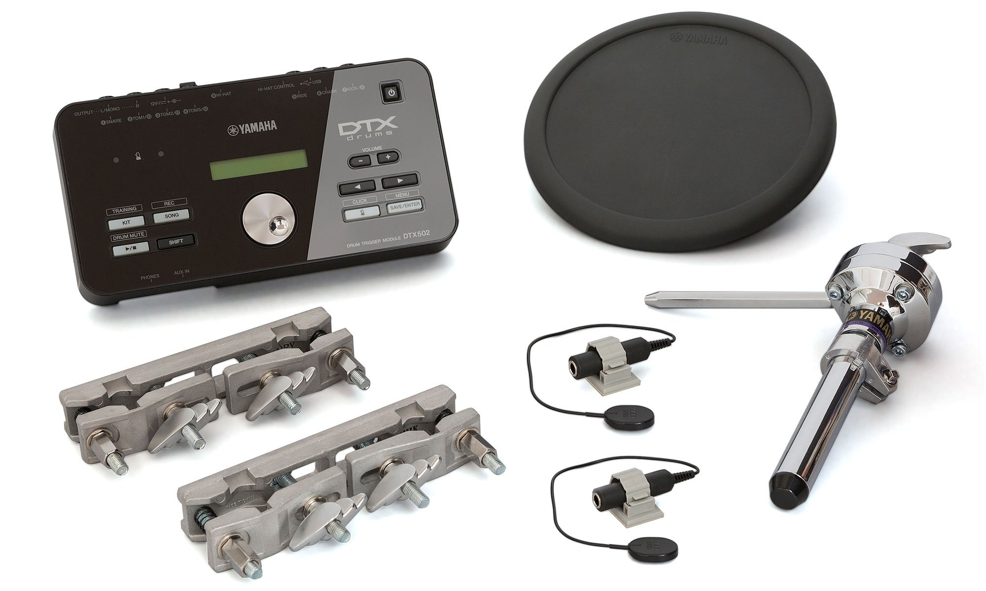 Yamaha DTX Hybrid Electronic Drum Pack with DTX502 Module, TP70 Drum Pad, Triggers and Mounts