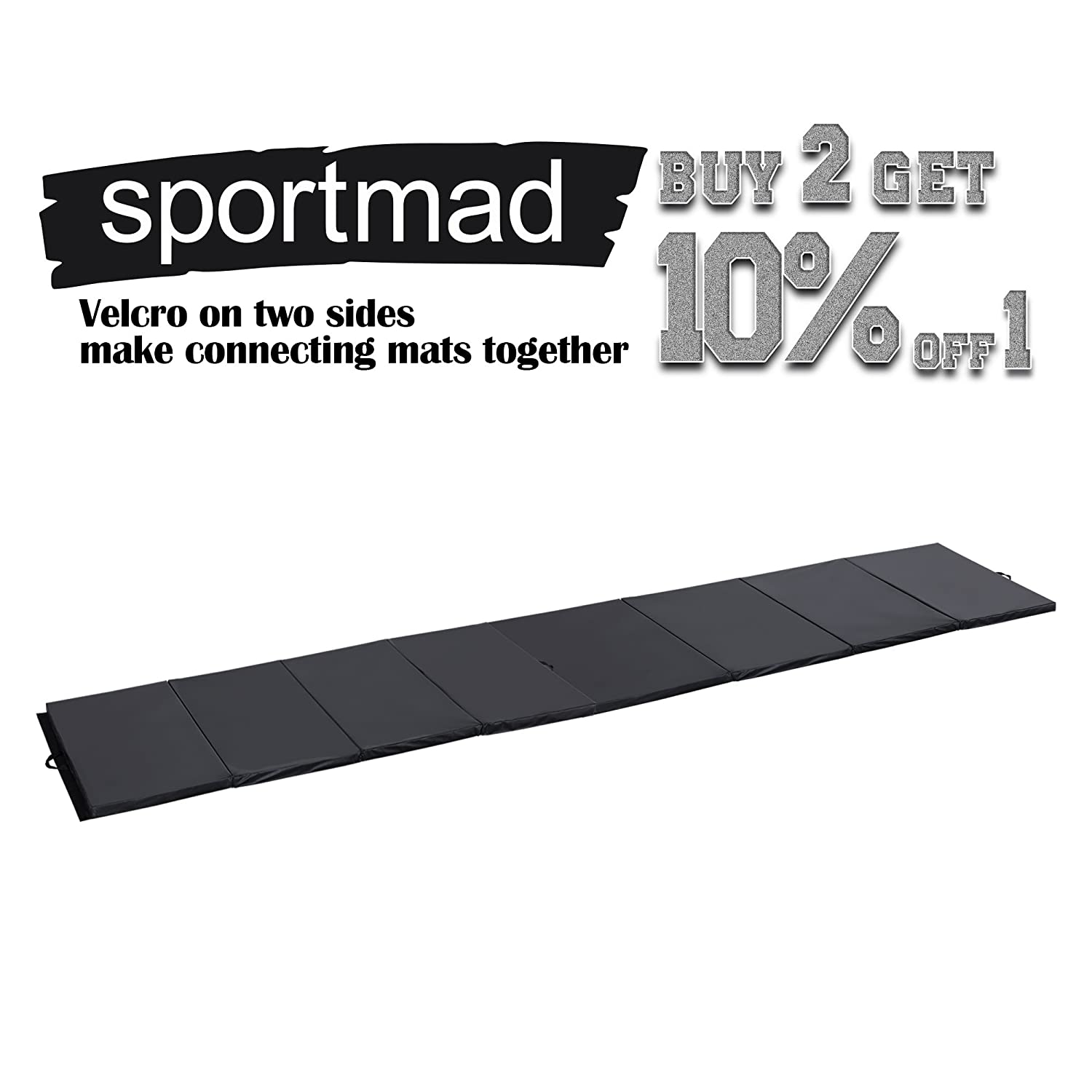 Sportmad 4x8x2//4x10x2 Gymnastics Mat Foldable Thick Panel Tumbling Mat Fitness Exercise Gym Mat Handle Compatibility Side Connection Tape Aerobics Yoga Cheerlanding Stretching Multi Color